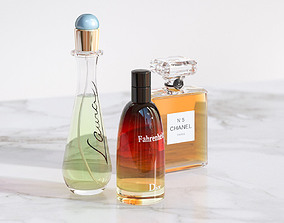 Perfume in elegant glass bottles 3D model