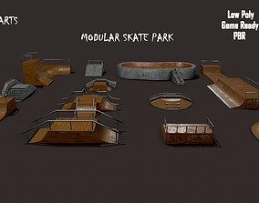 Lowpoly Modular Skatepark - 13 different ramps 3D asset
