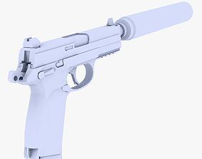 3D model USP 45 Pistol Supressed