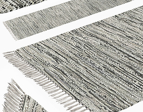 3D Carpet Hand Woven Striped Pattern Cotton - Gray