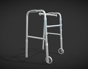 Old man walker aids with tire blue 3D model