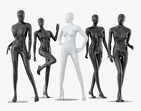 Collection of five faceless female mannequins 34 3D