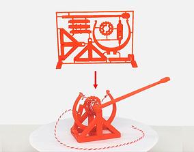 3D-printable Davinci catapult gift card da