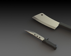 3D model Knife and Meat Cleaver