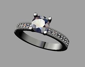 silver 3D print model Diamond Engagement Ring