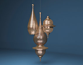 Moroccan Hanging Lamp Collection - Copper Finish 3D