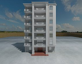 Apartment Building Front Design Only 3D model