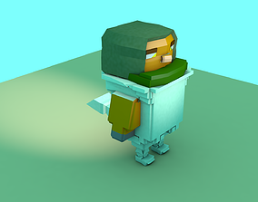 Bird Soldier Model Low Poly game-ready