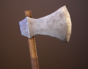 Medieval one-sided axes pack 3D model