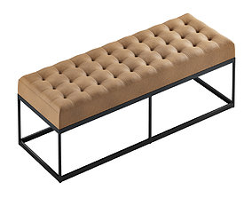 3D Faux Leather Buttoned Bench