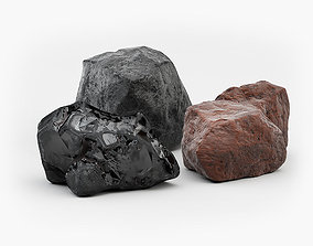 3D asset Black coal Brown coal Anthracite