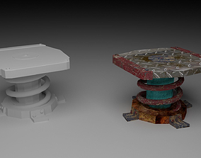 chair - table in the style of post-apocalyptic 3D model