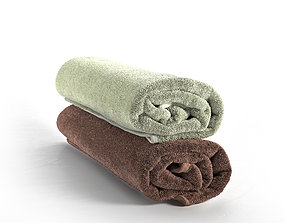 Set of Towels Roll rolled 3D model