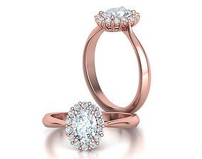 Diana Oval Engagement Ring 7x5 Oval Cut stone 3dmodel