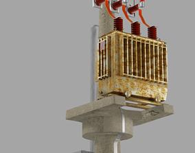 Electric Transformer station on pillar 3D