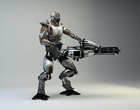 Retro-Futuristic Mechborg with Minigun 3D