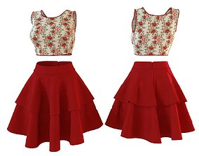 Stylish Designer Women top with layered skirt 3D model