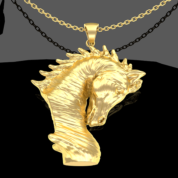 Arabian Horse Bust Pendant Jewelry Gold 3D print model