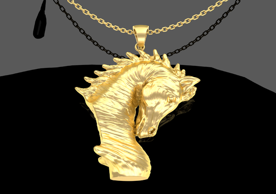 Arabian Horse Bust Pendant Jewelry Gold 3D print model