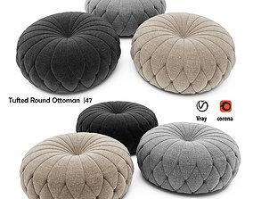 3D Tufted Round Ottoman