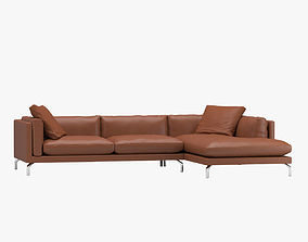 3D como Brown Leather Sofa