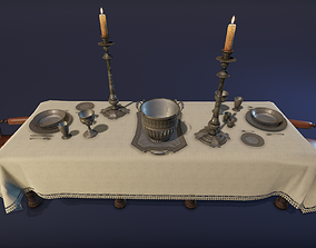 Silver service set on a table - PBR Game Ready low-poly 1