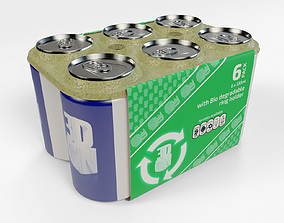 6 Pack 330ml Beverage Cans with recyclable ring 3D model 1