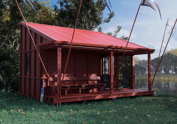 Cabin near a lake.