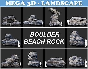 Low poly Gray Boulder Beach Rock Collection 3D asset