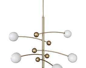 3D Chandelier Delight Collection Globe Mobile 5 brass