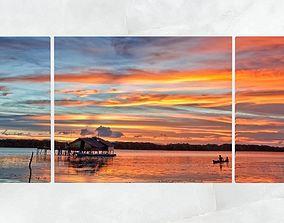Triptych Wall Art Panoramic Lagoon Sunset 3D asset