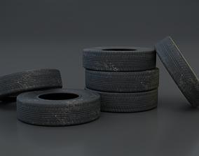 3D model Old car tire