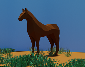 3D model low-poly Low poly horse