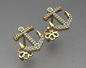 Anchor Diamond Earrings 3D printable model