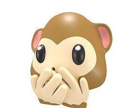 Speak-No-Evil Monkey Face 3D asset