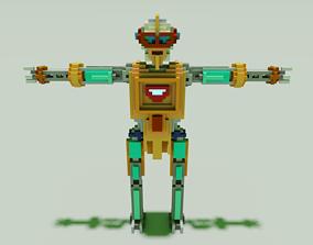 Robot Voxel Model 3D low-poly