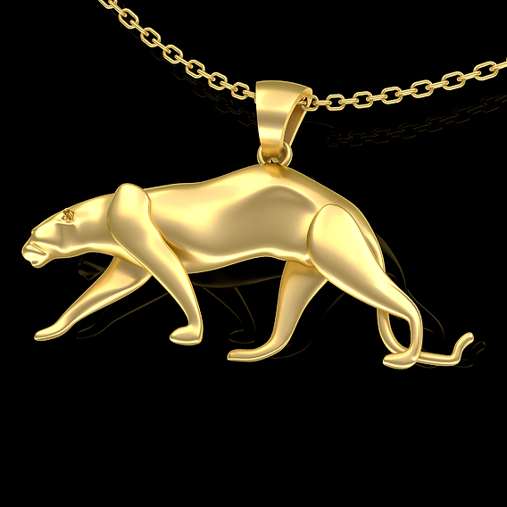 Panther-Pendant-jewelry-Gold 3D print model
