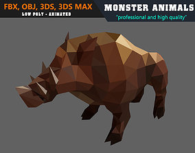 Low Poly Boar Cartoon Monster 3D Model Animated animated 2