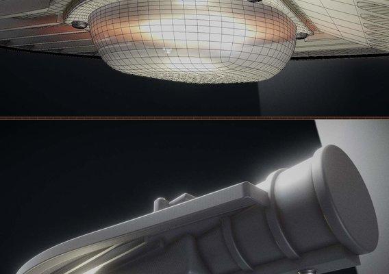 Sci-Fi City Light - Street Light 14 (High-Poly Version) - Blender-2.80.1
