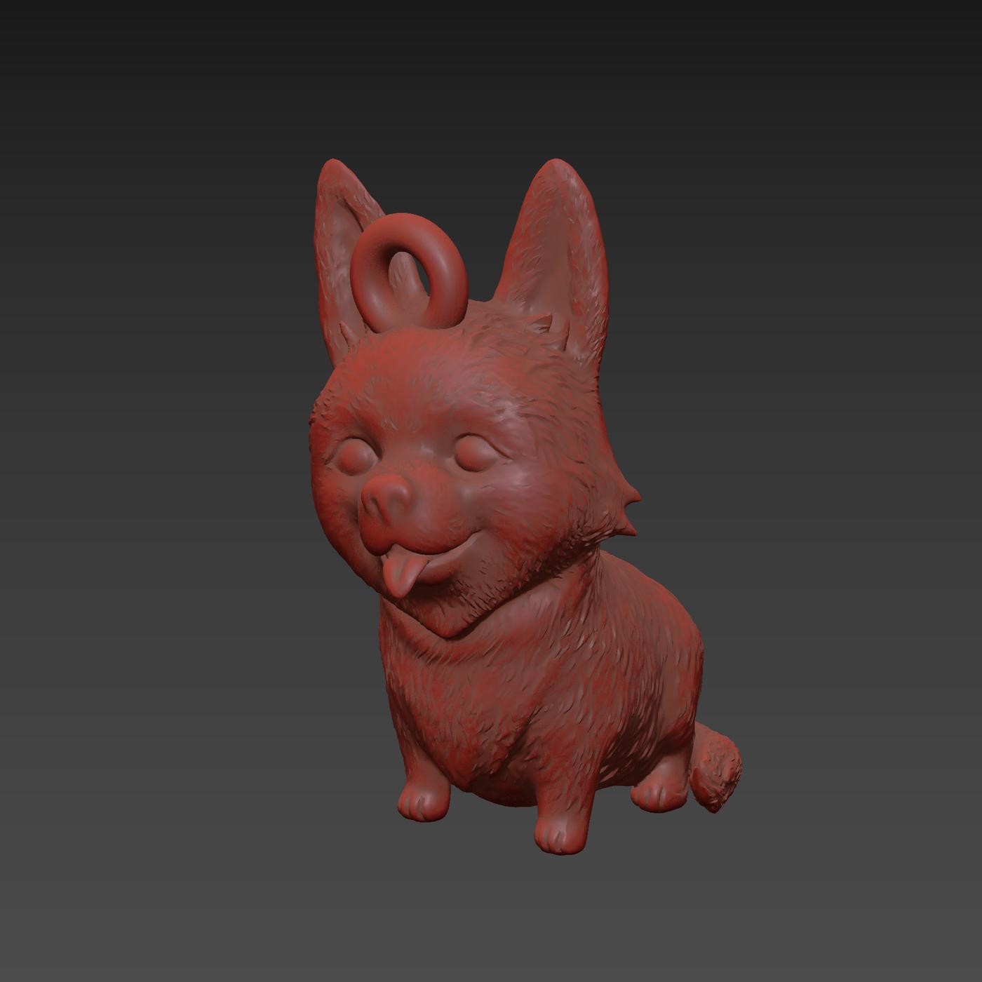 Funny Corgi Dog Pendant jewelry Gold 3D print model