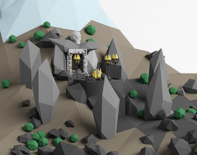 3D asset Lowpoly Cave entrance and lanscape mountain 3
