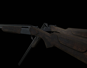 3D asset Double-barrel shotgun