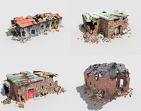4 low poly destroyed buildings pack 1 3D model