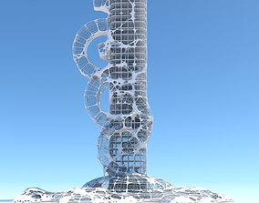 3D Futuristic Skyscraper 991