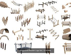 Playground Wooden Logs Set 3D model