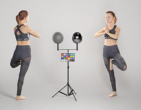 Sporty woman doing yoga routine 294 3D asset