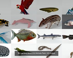 20 Low poly Amazonic Animals Pack 3D model