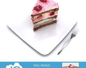 Raspberry Cake Slice 3D model