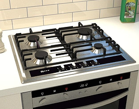 3D asset 60 cm stainless steel gas hob