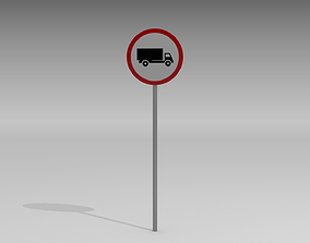 3D Heavy vehicles prohibited sign